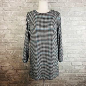 Zara Long Sleeve Houndstooth Mini Dress